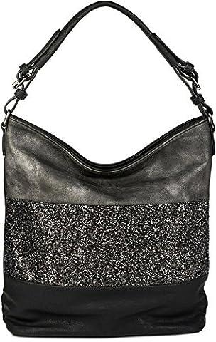 styleBREAKER edle 2-farbige Hobo Bag Handtasche mit Pailletten Streifen, Shopper, Schultertasche, Tasche, Damen 02012181, Farbe:Schwarz / (Zwei Taschen Hobo)