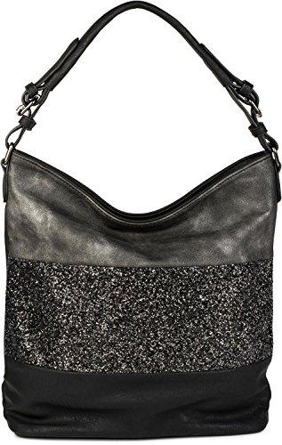 styleBREAKER edle 2-farbige Hobo Bag Handtasche mit Pailletten Streifen, Shopper, Schultertasche, Tasche, Damen 02012181, Farbe:Schwarz / Antik-Grau (Leder Tote Zwei Tasche)
