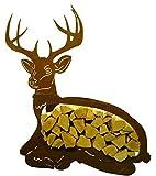 Metallmichl Edelrost Holzregal liegender Hirsch - Holzaufbewahrung aus Rost-Metall