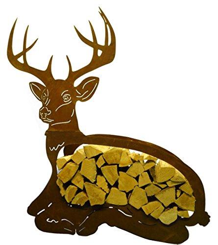 Metallmichl Edelrost Holzregal liegender Hirsch – Holzaufbewahrung aus Rost-Metall