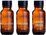 #1: NAWAB essential aroma Diffuser oil(Mogra,Lemongrass,Eucalyptus-15ml each)