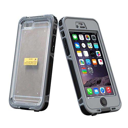 """Coque pour Apple iPhone 6 / 6S 4.7"""" - Yihya Slim Fit étanche/Imperméable Antipoussière Antichoc étui Waterproof Shockproof Full Protection Transparent Clair Housse Case Cover--Jaune Gris"""