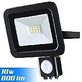 Faro Led Esterno con Sensore di Movimento PIR Regolabile 10W Luce Bianco 6500K Ultra-Luminoso 800LM Lampada Faretto Slim da Giardino Illuminazione di Sicurezza Faretti Impermeabile IP65