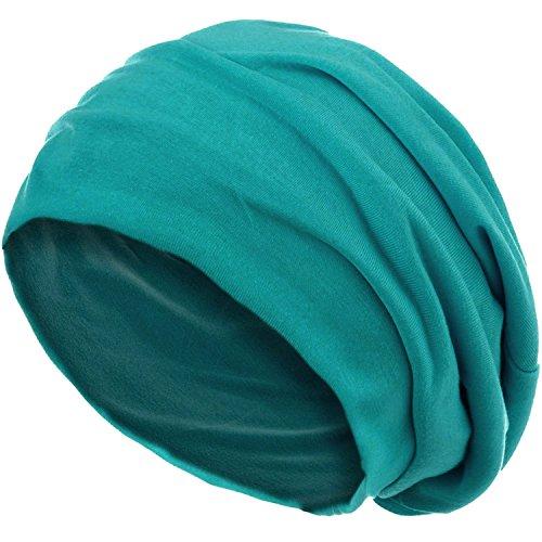 style3 Slouch Beanie aus atmungsaktivem, feinem und leichten Jersey Unisex Mütze Haube Bini Einheitsgröße, Farbe:Petrol -