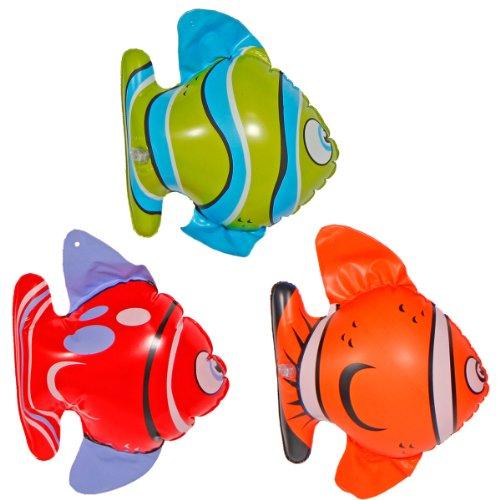 3er Set Fische - aufblasbarer Tropenfisch, 3 aus 3 Motiven, ca. 20cm