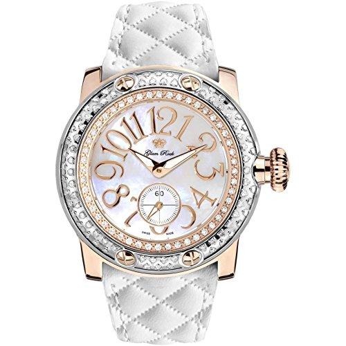 GLAM ROCK WOMEN'S MIAMI DIAMOND 46MM LEATHER BAND SWISS QUARTZ WATCH GR10532D