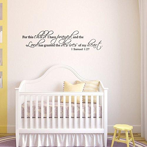 Wall Quotes Decals Aufkleber Vinyl Bibel Zitate für dieses Kind habe ich für Home Children's Schlafzimmer Kinderzimmer beten