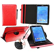 Emartbuy® Point of View Mobii Tab P1080 10.1 Pulgada Tablet Universal ( 9 - 10 Pulgada ) Rojo Premium Cuero PU 360 Grados Soporte Giratorio Folio Carcasa Wallet Case + Negro Lápiz Óptico