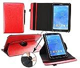 Emartbuy® Alcatel OneTouch Pixi 3 10 Pulgada Tablet Universal (9-10 Pulgada) Rojo Premium PU Leather 360 Grados Soporte Giratorio Cubierta Caso Wallet Folio Case + Negro Lápiz Óptico