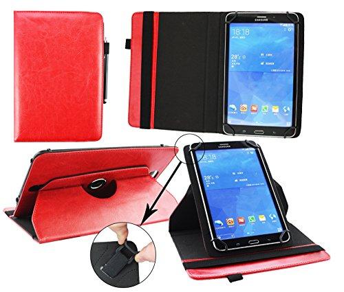 Emartbuy® Denver TAQ-10182 10.1 Zoll Tablet Universal (9-10 Zoll) Rot Premium PU Leder 360GradrotierendeStandFolioGeldbörseTascheHülle + Schwarz Eingabestift