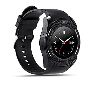 Piqancy Xiaomi Mi 6 Plus Compatible Smartwatch Bluetooth with Camera Smart and V9 Wrist Watch Phone with SIM Card Support (Black)