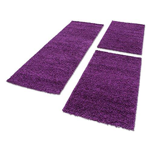 Shaggy Hochflor Teppich Carpet 3TLG Bettumrandung Läufer Set Schlafzimmer Flur, Farbe:Lila, Bettset:2x60x110+1x80x150