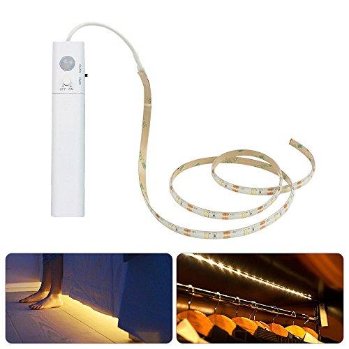 LiZhi Bewegung aktiviert Bett Licht,Doppelmodus-Bewegungs-Nachtlicht, 4000K 3.28ft flexibler LED-Streifen für Schrank-Schlafzimmer-Küche (4AAA Batterien betrieben, nicht eingeschlossen) (Neutralweiß) Motion-sensing-licht-schalter