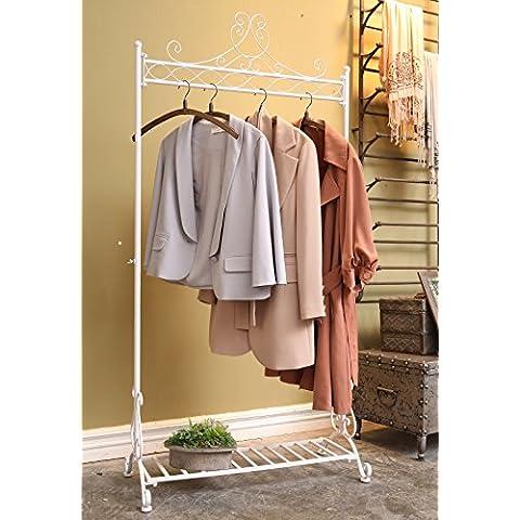 Dipamkar® Bianco Stile Antico Stand Appendiabiti Attaccapanni di Ferro Shoe & cappelliera H180 x W100 xD50 cm