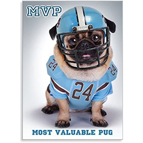 "PUGGO Pugs Art Collection, PUGGO MVP Pug - Officially Licensed Pug Heavy Duty MAGNET - 2.5"" x 3.5"""