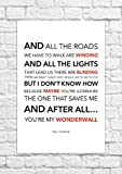 Poster con testo tratto dalla canzone (in lingua inglese) 'Wonderwall' degli Oasis, stampa senza cornice