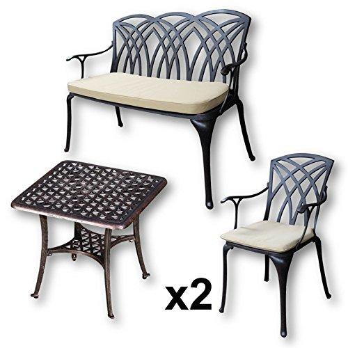 Lazy Susan - SANDRA Quadratischer Kaffeetisch mit 1 APRIL Gartenbank und 2 APRIL Stühlen - Gartenmöbel Set aus Metall, Antik Bronze (Beige Kissen)