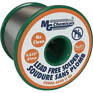 MG Chemicals Sn99, 96.3% Zinn, 0,7% Kupfer, 3% Silber, kein reinigen Bleifreier Lötzinn, 0,1cm Durchmesser, 1lbs Spule