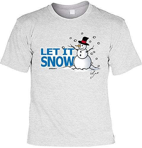 T-Shirt mit Weihnachts-Motiv: Let it snow, Schneemann - Lustige Geschenkidee - Weihnachtsgeschenk - By Gali - Farbe: grau Grau