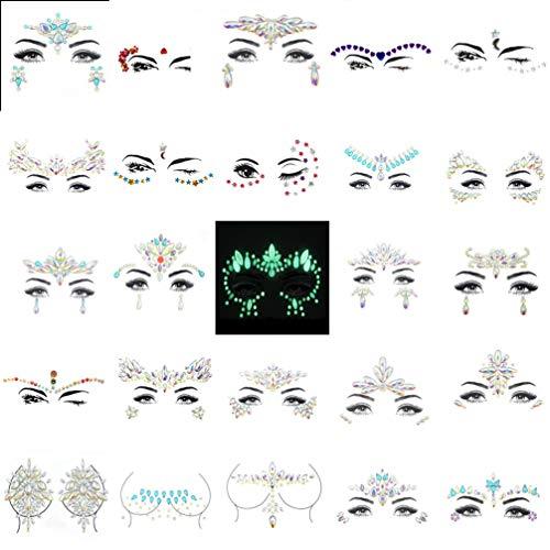 Kostüm Verrückt Kleber - WANZIJING 25 Blatt Gesicht Edelsteine   Juwelen, DIY Crystal Acryl Glitter temporäre Tätowierung im Dunkeln leuchten leuchtende Meerjungfrau Gesicht Juwelen