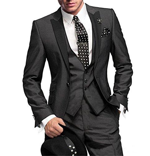 GEORGE BRIDE Herren Anzug 5-Teilig Anzug Sakko,Weste,Anzug Hose,Krawatte,Tasche Platz 002,4XL