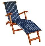 KMH®, Deckchair aus Eukalyptusholz (mit Auflage Navy)