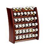 GALDBIS Gewürzregal, Küchenregal aus Holz für Gewürze und Kräuter, 42 Gläser, Gald – 42F-7x6 braun glänzend