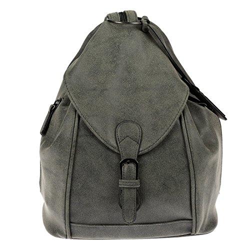 Nili Bags and More Damen Rucksack Handtasche Shopper Rucksackhandtasche Handtasche Bag (Grau/Grün)