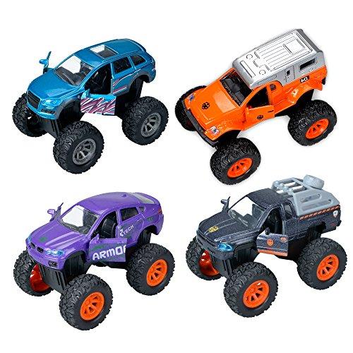 Ausear 4 Stück Metall Pull Back Mini Kunststoff Spielzeugauto Modell Set Weihnachtsgeschenk für Kinder (Monster Trucks Für Kleinkinder)