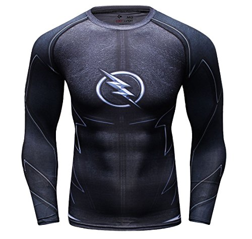 Cody Lundin Männer Superhelden Serie Party Shirt Männlich Motion Joging Party im Freien Stil Sport Long Sleeve (Black Lightning, M)