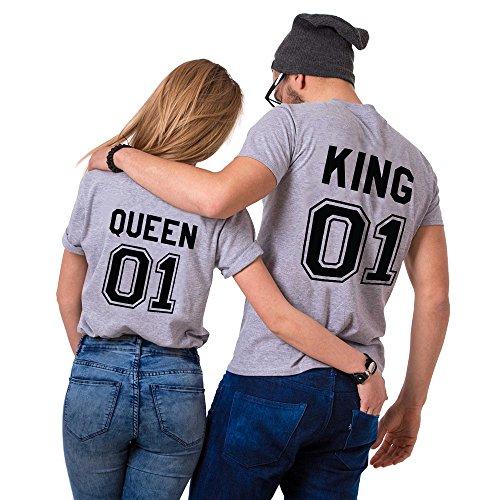 Parejas Camiseta King Queen T-Shirt 100% Algodón Shirts Impresión 01 2 Piezas de Manga Corta Rey Reina Regalo de San Jorge Camisa Casual para Amante(Grey+Grey,M+M)