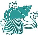 GRAZDesign 650142_30_054 Wandtattoo Muscheln/Ozean - Fliesenaufkleber Unterwasserwelt | Fliesen-Aufkleber-Tattoo für Badezimmer (33x30cm//054 türkis)