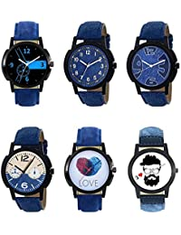 NEUTRON New Casual Love Beard Style Black Blue And Brown Color 6 Watch Combo (B7-B8-B9-B10-B11-B12) For Boys And...
