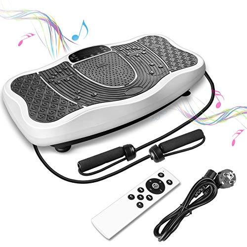 FITTIME Vibrationsplatt Fitness Profi Vibrationsgerät Trainingsgerät + LCD-Display + USB-Lautsprecher + 150(Weiß)