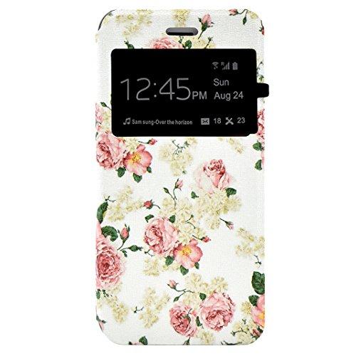 iPhone 7 Flip Cover, iPhone 7 Handyhülle mit Lanyard, iPhone 7 Bumper Flip Case, Moon mood® Mit Diamanten Ledertasche Brieftasche für iPhone 7 (4.7 Zoll) ,PU Leder Hülle Wallet Case Folio Schutzhülle  W-Blumen