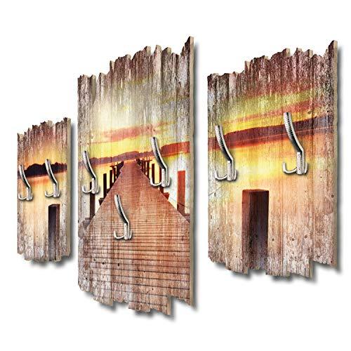 Kreative Feder Steg am See Designer Wandgarderobe Flurgarderobe Wandpaneele 95 x 60 cm aus MDF DTGH095
