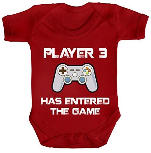 Vatertag Gamer Geek Nerd Strampler Bio Baumwoll Baby Body kurzarm Player 3 has entered the Game, Größe: 0-3 Monate,Red (Player 3 Games)