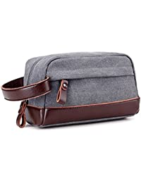 JAKAGO Canvas Large Overnight Wash Gym Shaving Toiletry Travel Organizer  Shaving Dopp Kit Cosmetic Makeup Bag 329c0681324df