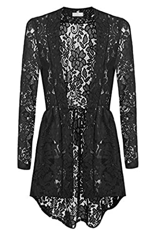 FastDirect Elegant Splicing Lacy Lace Patchwork Outwear Longline Embellished Cardigan