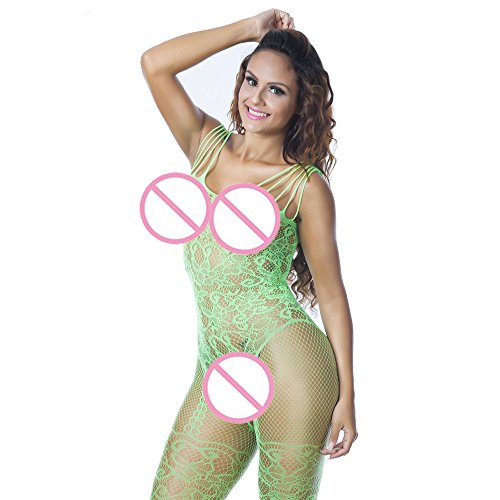 Damen Dessous,Binggong Sexy Dessous Babydoll Reizvoller Spitze Versuchung Siamesische Unterwäsche Nachtwäsche Wäsche A Öffnen Brust Underwear Pants (Sexy Grün, 1X) (1x Bluse)