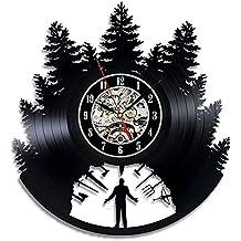 NACHEN Relojes Decorativos Retros De La Familia del Reloj De Pared Hueco del Vinilo Bimodal