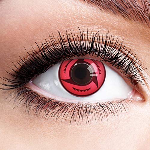 Crimson Kostüm Hexe - Farbige Kontaktlinsen Schwarz Rot Ohne Stärke mit Motiv Linsen Halloween Karneval Fasching Cosplay Kostüm Black Red Eyes Schwarze Rote Augen Anime Sharingan Crimson