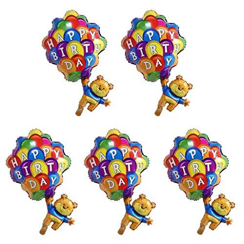 Dolity 5pcs Happy Birthday Bär mit Fallschirm Folie Ballon Baby Dusche Kind Party Dekor