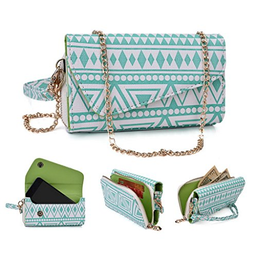 Kroo Tribal Urban Style Housse cas Wall Let Embrayage Convient pour Samsung Galaxy Ace 3 Schwarz/Weiß White with Mint Blue