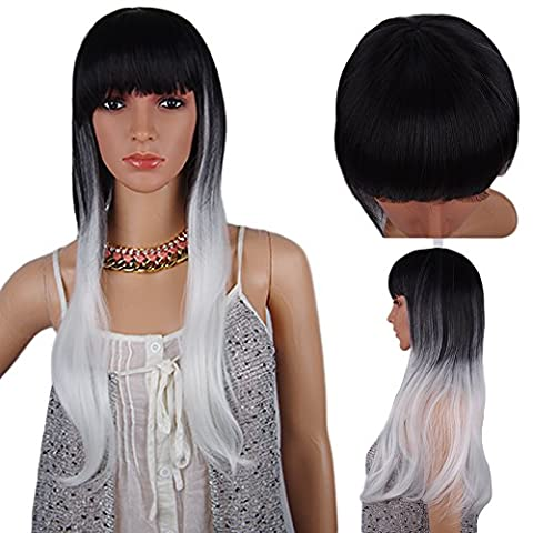 Spretty Womens Long Staight Wig with Small Roll Black Gardient Silver for Daily Dress and Cosplay