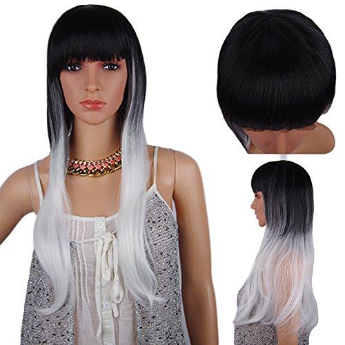 Spretty Womens Long Straight Perücke mit kleinen Roll Black Gradient Solver für Tägliches Kleid und Cosplay