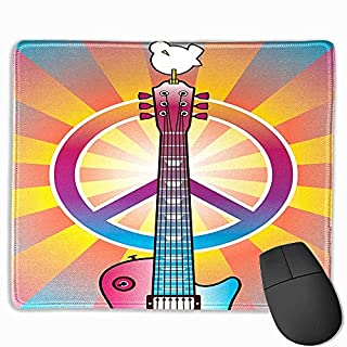 Natural Gaming Mouse Pad Retro,Colorful Guitar and Peace Symbol and Dove Dedicated to The Woodstock Artsy Tribute,Multicolor,9.8