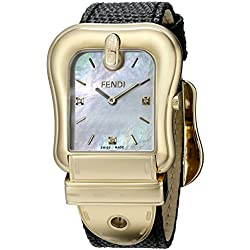 Fendi F382414511D1 33mm Stainless Steel Case Black Calfskin Anti-Reflective Sapphire Women's Watch