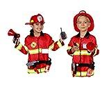 Matissa Kinder Feuerwehrmann Rollenspiel Kostüm und Zubehör Feuerwehr Feuerwehrchef (Groß (5-8 Jahre), Vollständiger Satz) Vergleich
