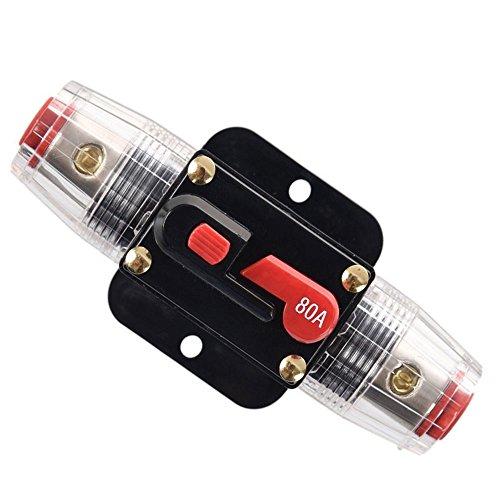 RKURCK 80A Schutzschalter, Sicherungshalter Manuelle Rückstellung Inline-Sicherungsblock für Auto Audio Marine Trolling Motoren Boot ATV Audio Solar Wechselrichter System Schutz 12V-24V DC 80 Amps -